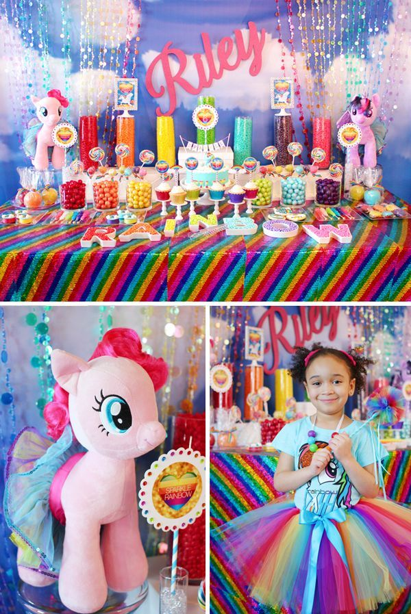 My Little Pony Rainbow party featuring a Sparkle Rainbow theme with rainbow sequin tablecloth and rainbow candy table with a fabulous Rainbow Dash cake.