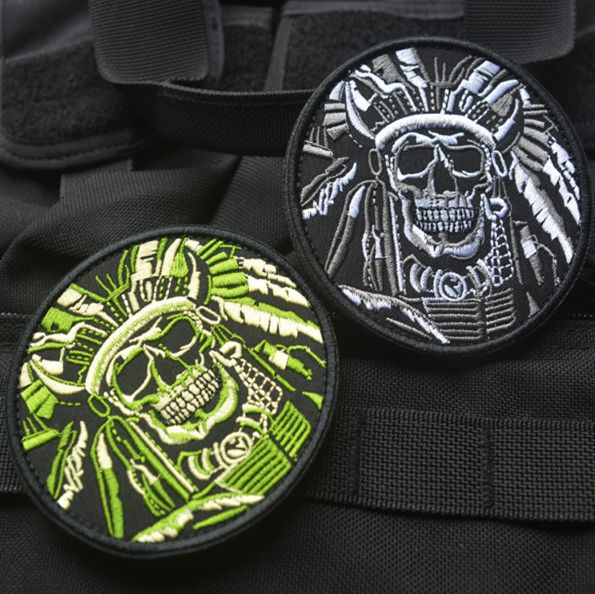 Full Embroidered Armband Cloth Bag Badges Patch Military Indians Native American Skull Courage Patch With Velcro