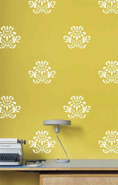 Narcissis Damask  Wall decals vinyl stickers by LivingWall on Etsy, $30.00 for bathroom (toilet room)