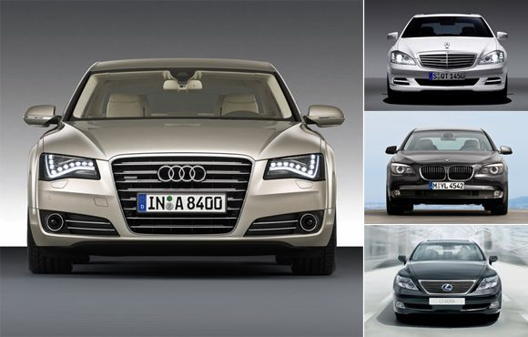 Audi A8, Mercedes S-class, BMW 7 Series and Lexus LS 600h.....