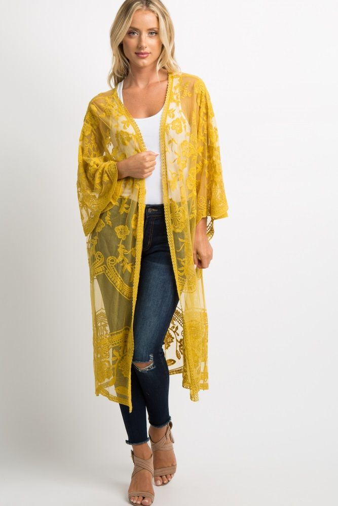 New Ladies Floral Lace Mesh Crochet Kimono Long Sleeve Maxi Boyfriend Cardigan