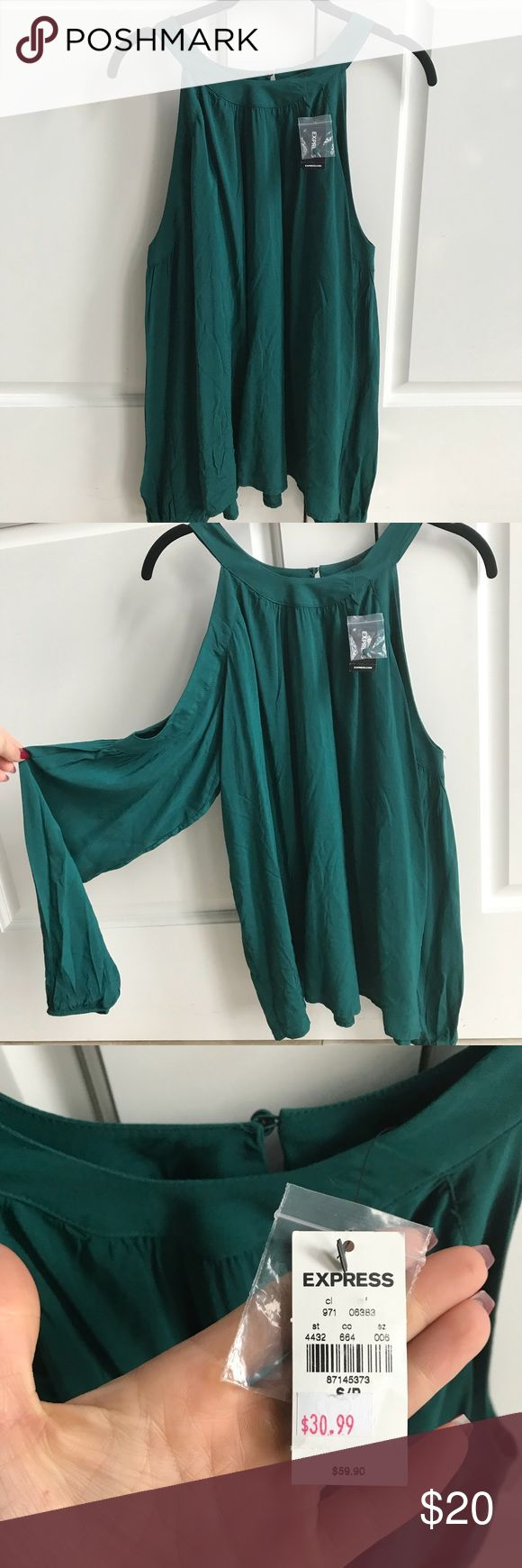 NWT Express cold shoulder teal blouse Teal green express blouse with open shoulder and flowing sleeves that gather at the wrist. Beautiful top, just a bit too big for me!   ✅ Reasonable offers considered  ❌ NO TRADES ❌ NO LOWBALLS Express Tops Blouses