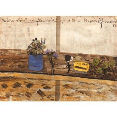 Natură statică cu flori violet, pipă şi tutun Virginia- Sorin Ilfoveanu