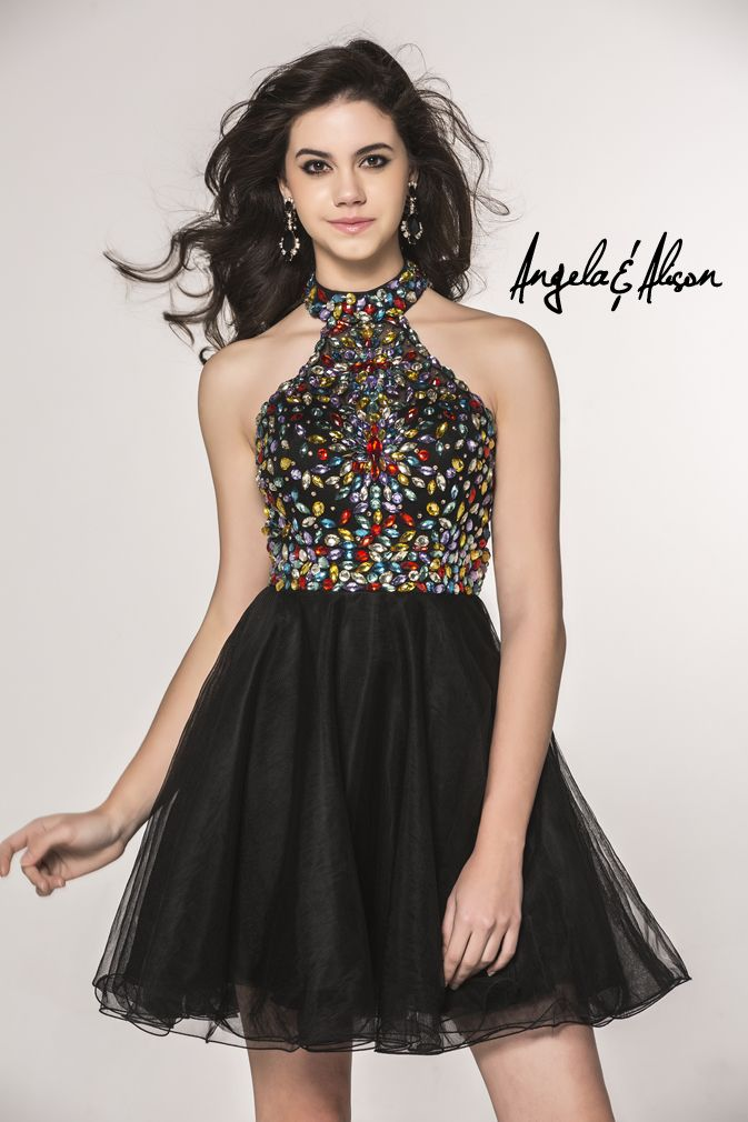 Style 42035 Halter neckline with multi-colour beaded top and tulle skirt. Perfect for Prom, Homecoming, Gala, Wedding, Formal, Graduation, Ball... etc.