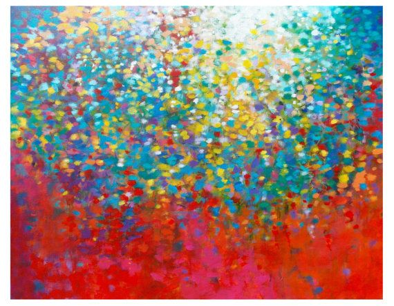 """ILLUMINATION - Acrylic on canvas, 22"""" x 28"""" by Jessica Torrant. Colorful Wall Art Painting Abstract Art on Etsy."""