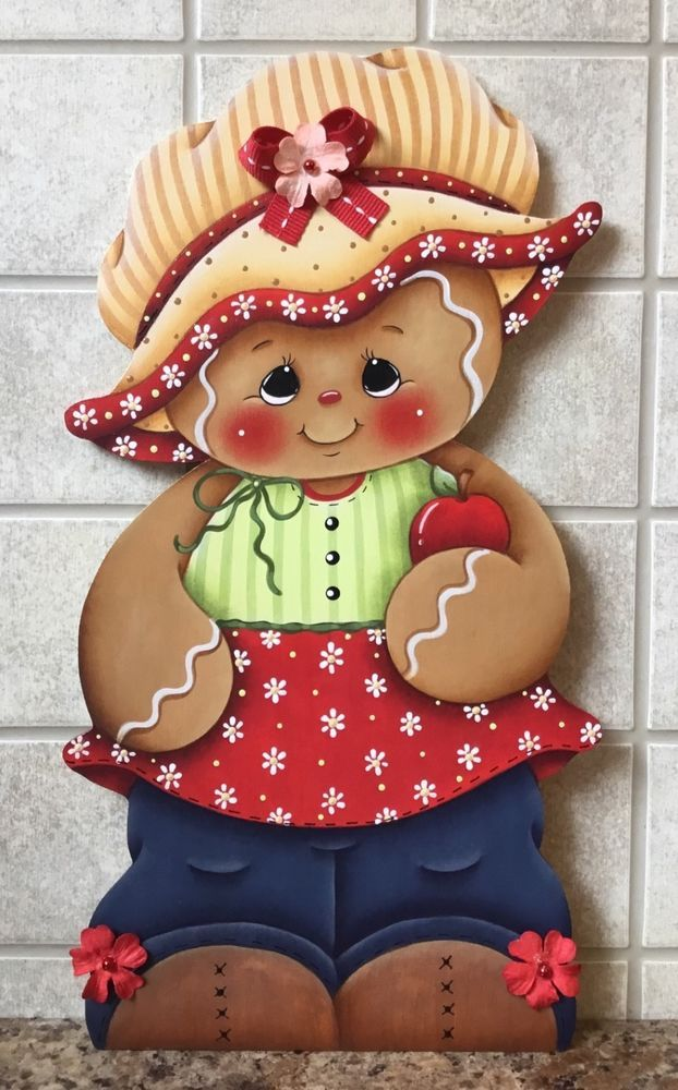 HP GINGERBREAD Girl Apple Blossom SHELF SITTER or WALL HANGING