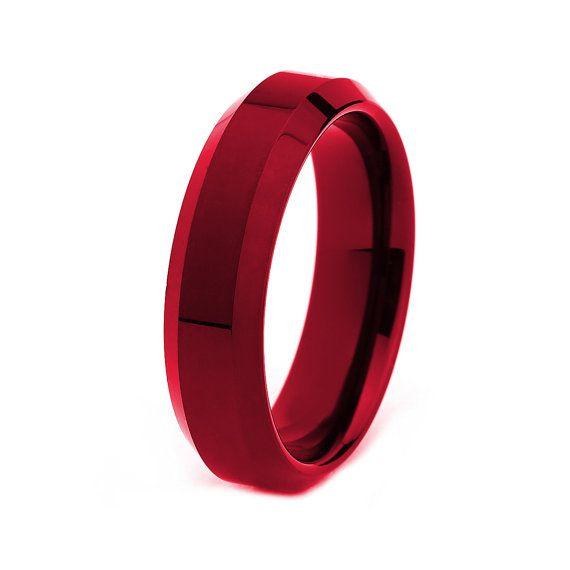 Ring, anelli di tungsteno uomini rossi, tungsteno rosso rosso fedi nuziali, Mens rosso Wedding Band, banda di nozze uomini rossi, donne uomi...