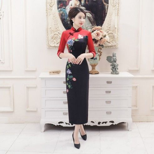 Black & Red Velour Half Sleeve Long Cheongsam Floral Dress
