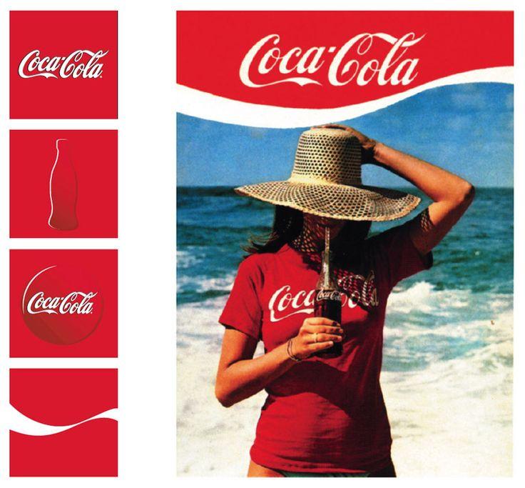 Coca-Cola používá k identifikaci značky řadu cenných prvků. Kromě jména jsou to: červená barva, nápis z písma Spencerian, tvar láhve a doplňková grafika (dynamická stuha). Autorem původní značky byl účetní Frank M. Robinson v roce 1887.