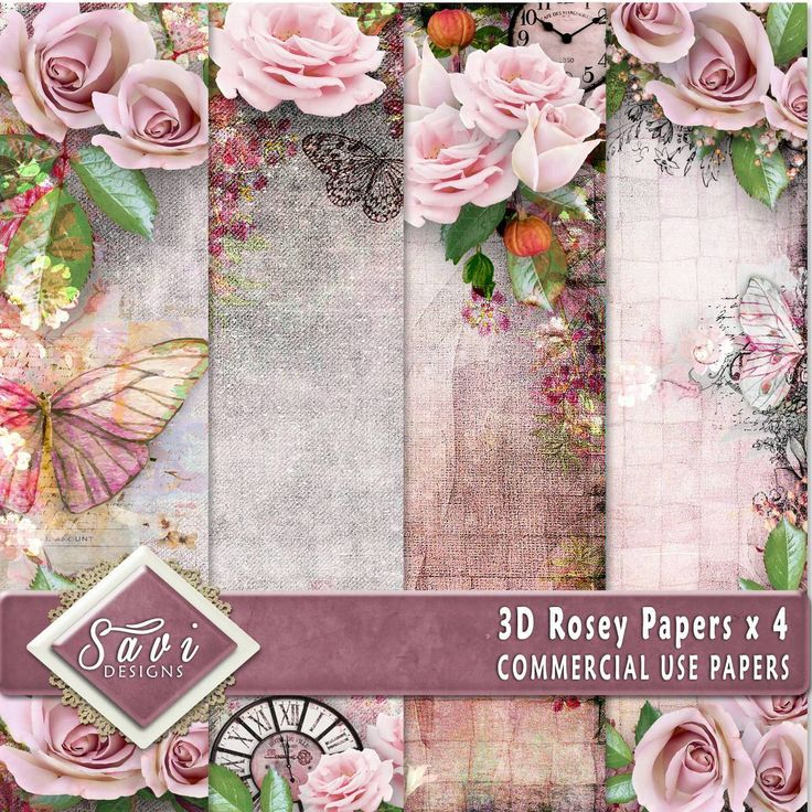 CU Commercial Use Background Papers set of 4 for Digital Scrapbooking or Craft projects ROSEY, 3D Papers, Designer Stock Papers by SaviByDesign on Etsy