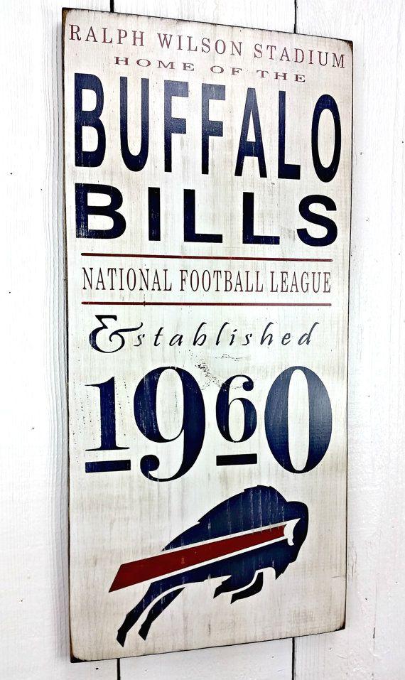 2 SIZES Buffalo Bills Football, NFL football - Distressed Wood Sign