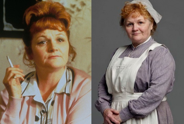 Lesley Nicol as Mrs. Beryl Patmore on Downton Abbey    Saucy cook Mrs. Patmore runs the kitchen of Downton Abbey like a ship. Portrayed by veteran stage and TV actress Lesley Nicol, she believes she may run the whole of Downton Abbey, though Mrs. Hughes and Mr. Carson might protest. Nicol has appeared in countless British TV productions and earned raves as her portrayal of Auntie Anne in the popular 1999 film East Is East. She will next be seen in the film Broken Cove.