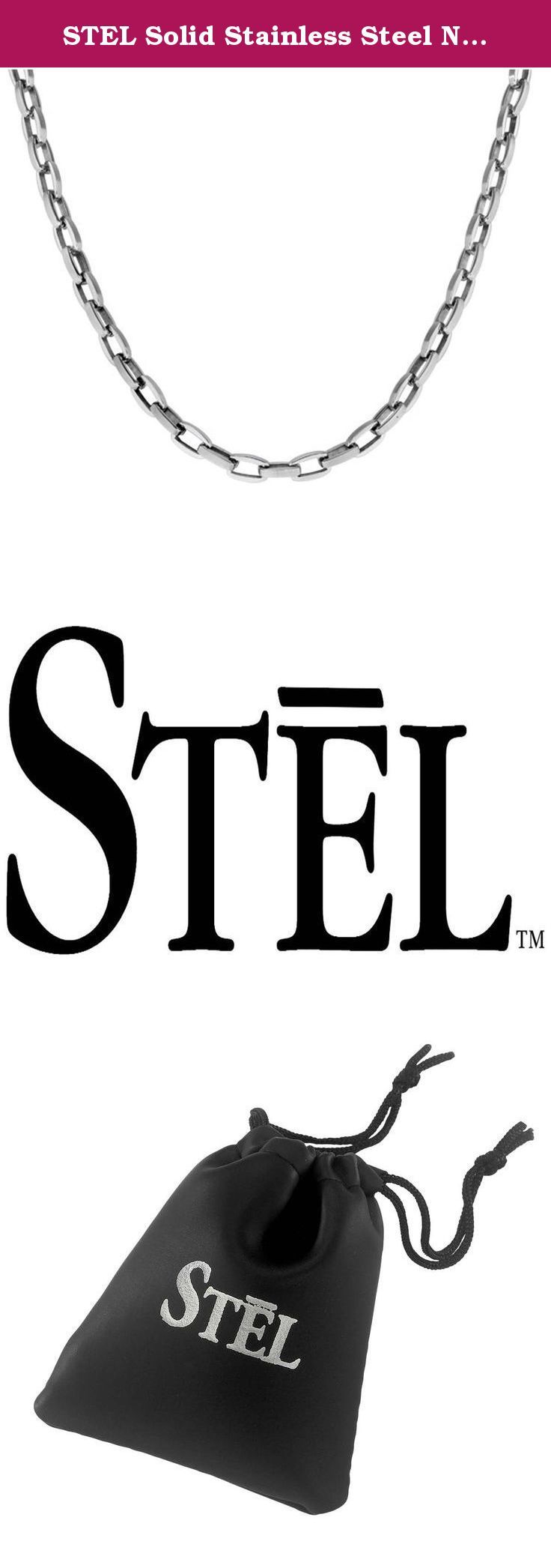 """STEL Solid Stainless Steel Necklace 22"""". A chain is only as strong as it's weakest link. No weak links here! Simple links in sturdy jewelry grade stainless steel creates a neck chain he can wear everyday. 22 inches in length."""