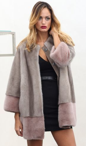Silverblue Female Mink Fur Coat with whole skins. Made in Italy. Skins Quality: Kopenhagen Fur Platinum; Color: Grey – Pink; Closure: With poppers; Collar:Plat; Lining: 100% Satin; Lining Color: Monocolor; Length: 70cm;