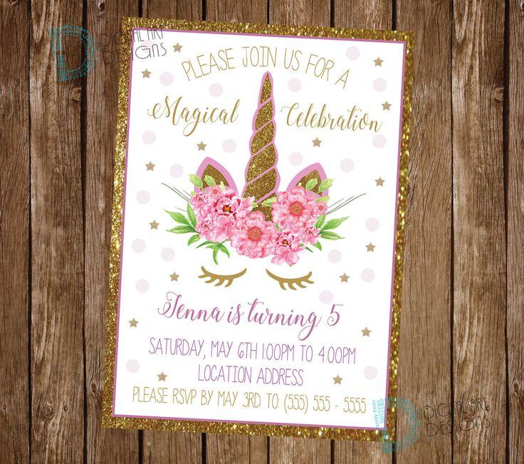 Unicorn Invitation - Unicorn Birthday Invitation - Unicorn Party Invitation - Unicorn Floral Invite - Unicorn Party Invite - Magical Party by DigitalArtDesignsByB on Etsy