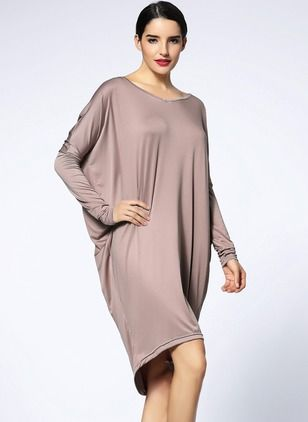 Bawełna Solidny Długi Rękaw Do Połowy Łydki Nieformalny Suknia