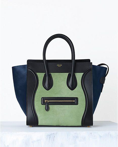 Sac Luggage en Veau façon Poulain Multicolore Pistache - Céline
