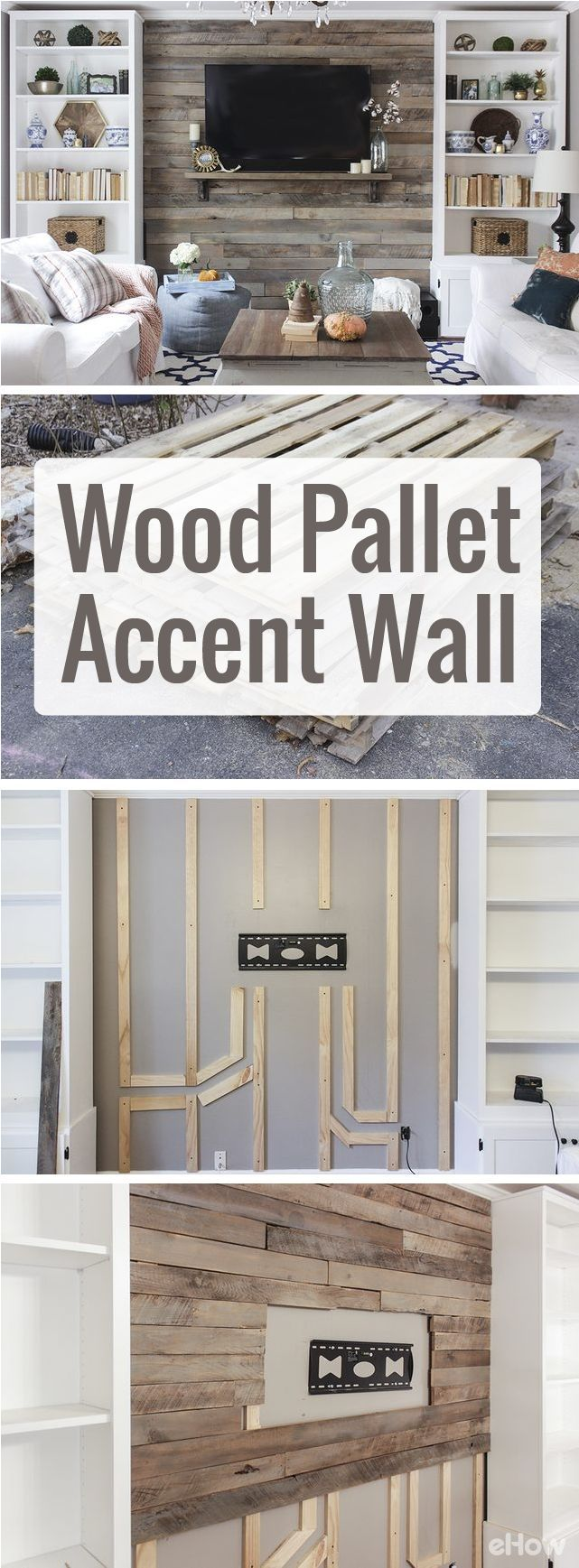 Drastically change the look and feel of your living room with a beautiful wood pallet accent wall. Using pallets makes this home makeover so inexpensive and easy to DIY!