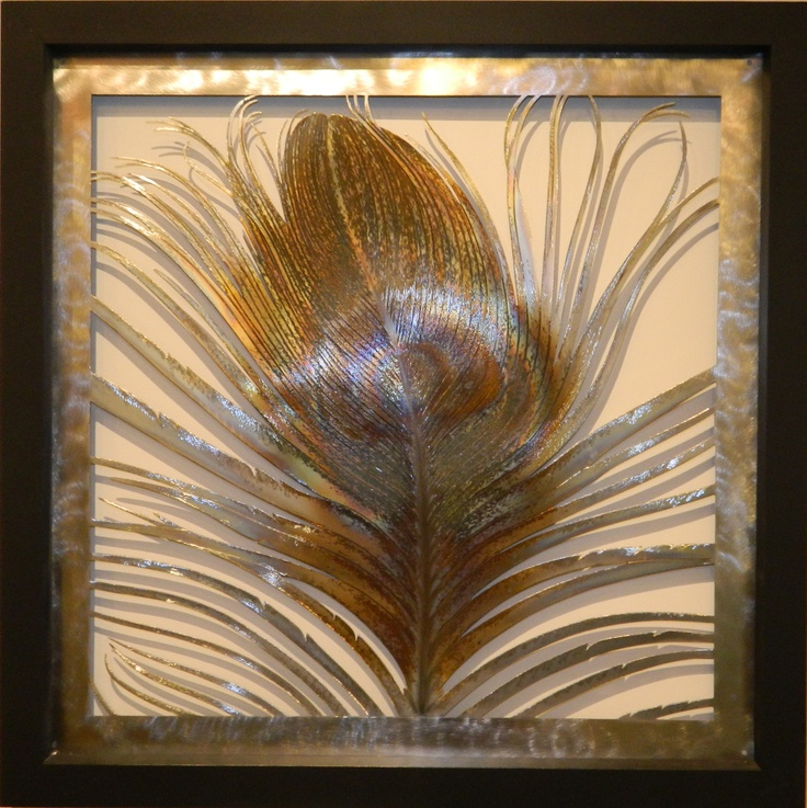 Peacock feather in Frame, made from heat treated stainless steel $1090 NZD. For more details, to purchase or to find out shipping costs follow the link below http://coolstoregallery.co.nz/sculptures/MervSarson_Sculpture_Birds.htm
