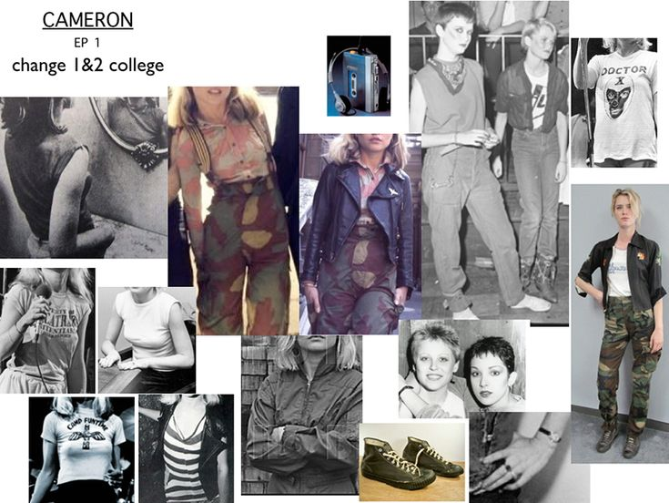 Character inspiration board for 80's character, Cameron Howe, by costume designer Kimberly Adams-Galligan . Halt and Catch Fire