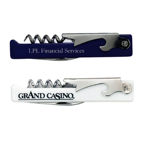 A great promotional giveaway for restaurants, wineries and tourist destinations this pocket tool functions as a corkscrew, bottle opener and knife. Always handy for daily exposure, this would make an ideal background for adding your company name or logo. Features a waiter's steel design with a plastic handle so that you can carry it with you when travelling. Perfect for beverage distributors, hotel gift shops and tradeshow giveaways.