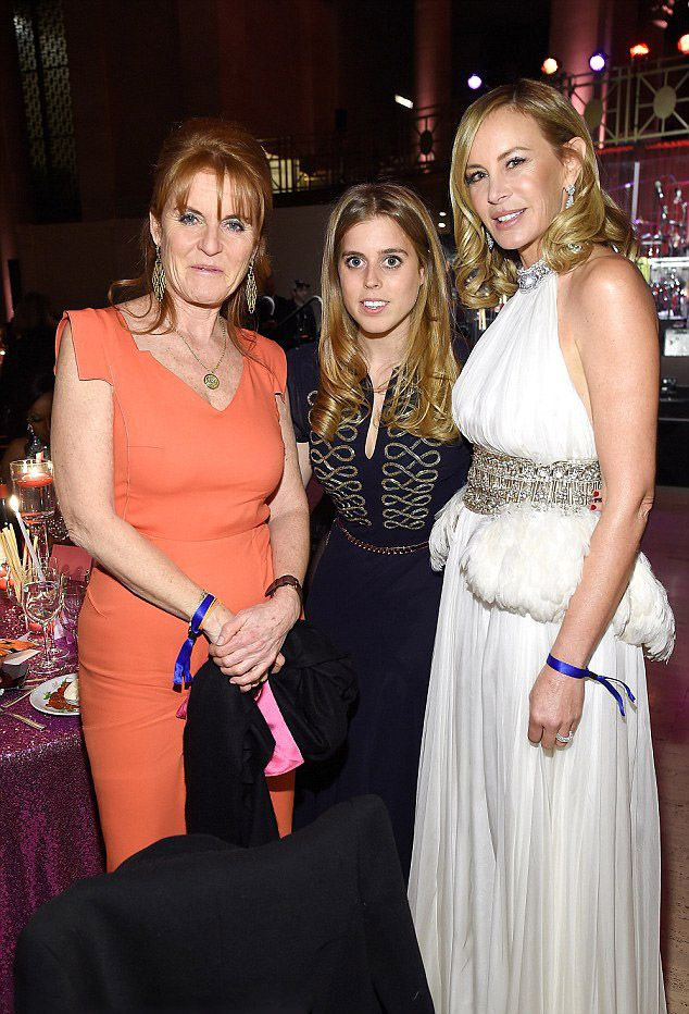 (L-R) Dutchess of York Sarah Ferguson, Princess Beatrice of York and Dee Hilfiger attend 2016 Angel Ball hosted by Gabrielle's Angel Foundation For Cancer Research on November 21, 2016 in New York City.