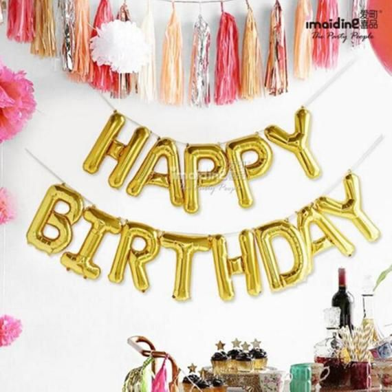 13pcs 17 inch Happy Birthday Celebration Alphabet Letters Foil Balloons Banner 1st Birthday Party Decoration Supplies Baby Air Globos
