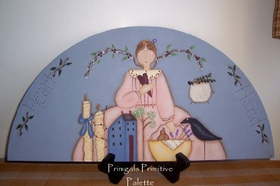 Primitive Door Crown Angel Wood-Shelf Sitter-Handpainted Home Decor. $24,95, via Etsy.