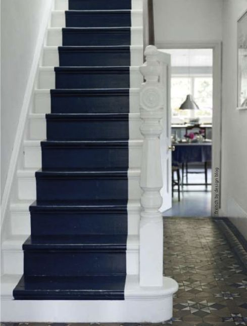 painted runner: Paintings Stairs, Idea, Blue Stairs, Floors, Color, Stairs Runners, London Style, Style File, Stairways