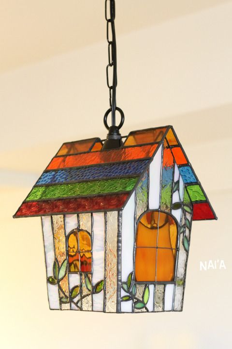 Stained Glass Bird House Lamp