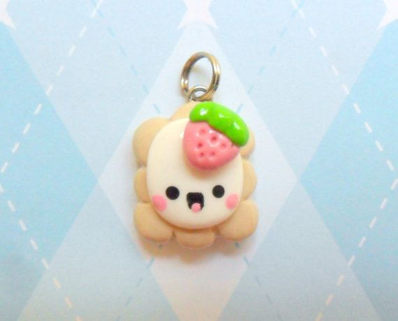 Kawaii Charm Toaster Pastry with Strawberry Polymer Clay Pendant via Etsy