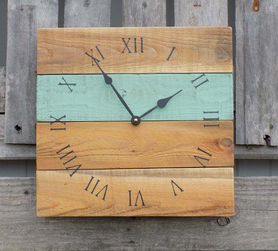 Primitive Clock, Beach Style Clock, Rustic Wood Clock, Sea Foam Green Clock, Pallet Clock, Wood Wall Clock, Shabby Chic clock