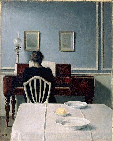 Vilhelm Hammershøi, Interior with Woman at Piano, Strandgade 30, 1901 (oil on canvas, 55.9 x 45.1 cm