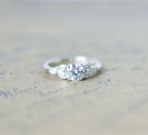 Bague de fiançailles de style Art déco anneau par MochaRings