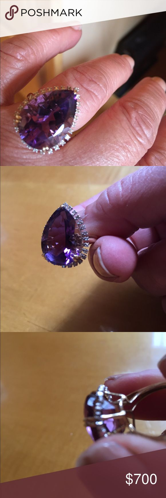 Amethyst and diamond ring 8.70 Ct pear shaped Amethyst ring. 1/10 Ct two diamond accents all around stone. 14 kt gold.  Serious jewelry buyers only. This ring is worth a fortune. Price is firm! Jewelry Rings