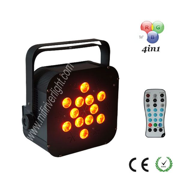 F-12-10C - 12*10W RGBAW 5in1 LED Wireless Remote Flat PAR ‐ Control mode: DMX512 ‐ Built in Sound Active, Auto Run ‐ DMX Channels: 4/7CH ‐ Infrared angle: 15° ‐ Remote Control Distance: 15 meters.