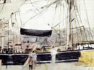 Boat At Dock  Berthe Morisot