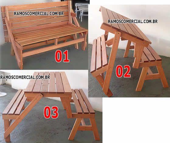 Banco vira mesa OU mesa vira banco - acompanha 2 bancos multi uso para as laterais.