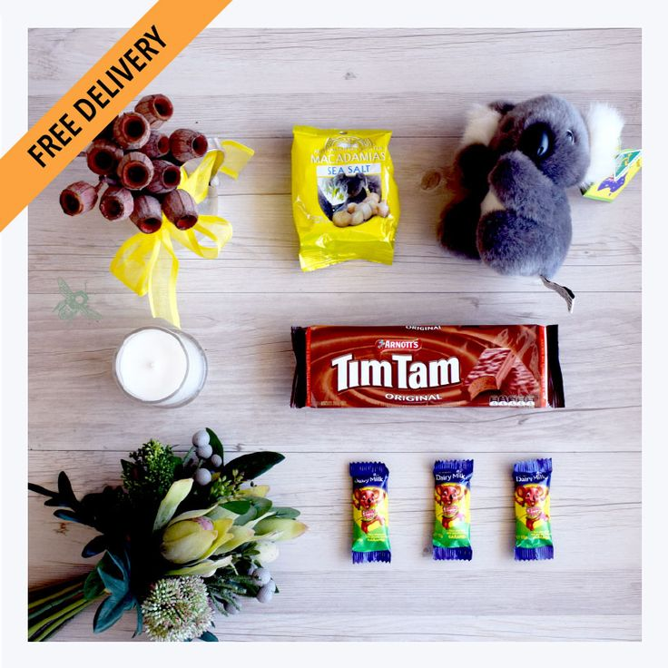 Australian Gift Hamper: With Love from Home. This lovely gift of Australian Made Koala plush toy, Tim Tams, Caramello Koalas and Patons Sea Salted & Roasted Macadamia Nuts will be sure to delight a homesick Aussie overseas. Comes in our signature keepsake box featuring native Australian flora and fauna
