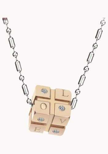 Love Dice Necklace Rose Gold