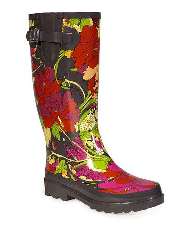 Take a look at this Scarlet Flower Power Artist Circle Rain Boot - Women by  Sakroots