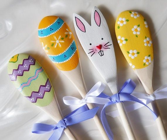 Easter Wooden Spoons, Easter Decor, Bunny And Egg Spoons, Easter Decoration, Easter, Easter Bunny, E