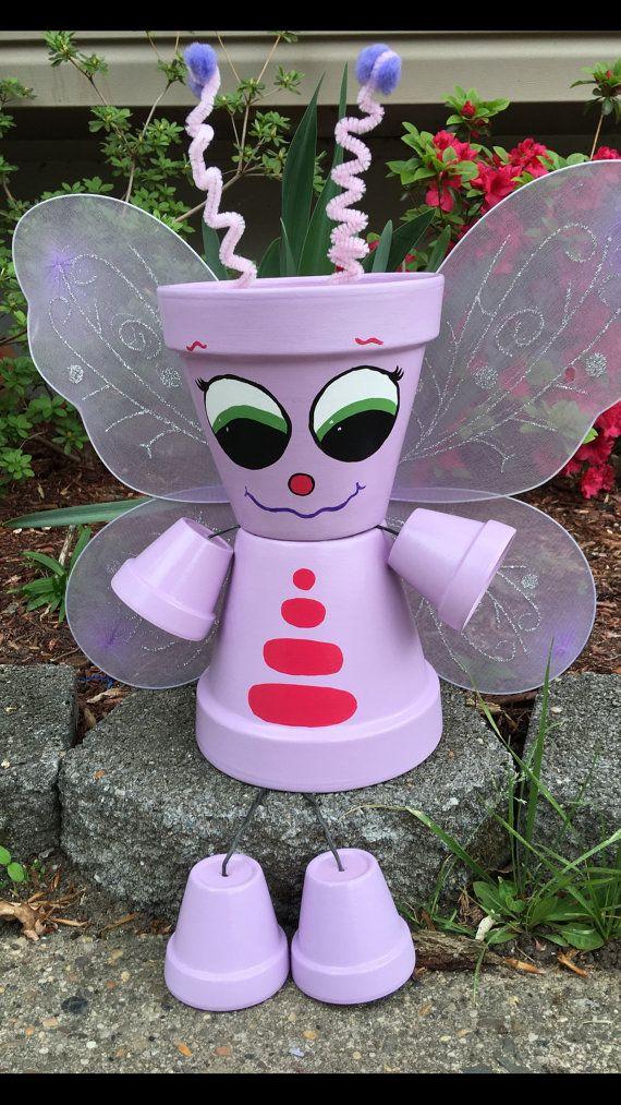 Butterfly Planter Pot Person Pot People Yard by GARDENFRIENDSNJ