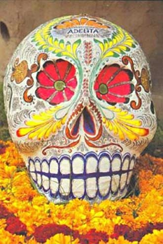 colourful skull oaxaca mexico day of the dead