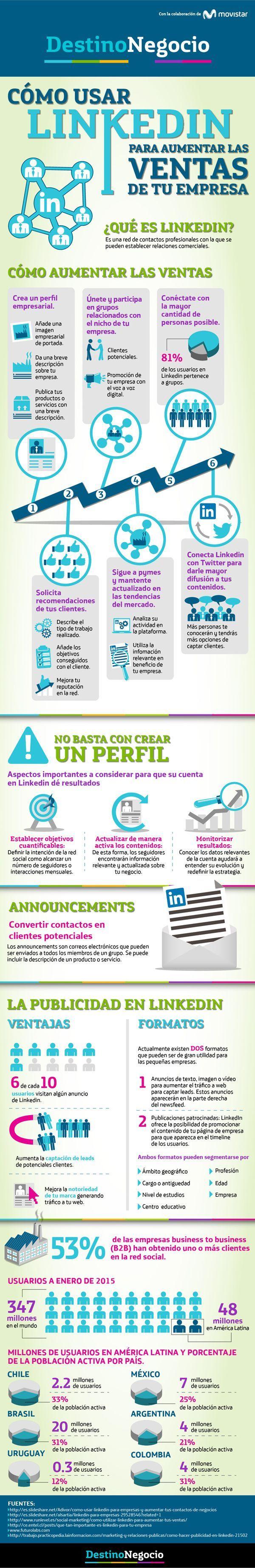 nice Cómo usar Linkedin para aumentar las ventas de tu empresa #infografia #marketing #socialmedia