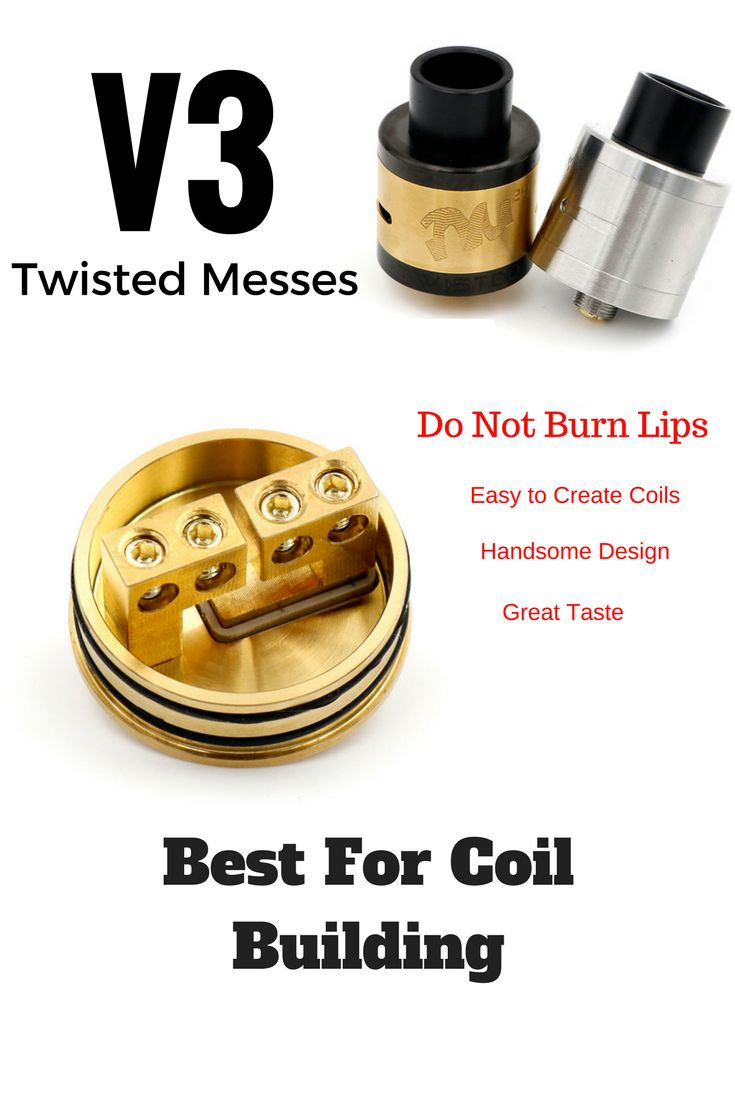 13.66$ Twisted Messes V3 RDA. Best RDA atomizer for coil building and awesome flavor. Do not burn lips, Super easy to create coils, Wonderful Design and Very Tasty. http://www.mygadget.us/products/twisted-messes-v3-rda?variant=39285307783 #rda #twisted #messes #v3 #clone #atomizer #copy