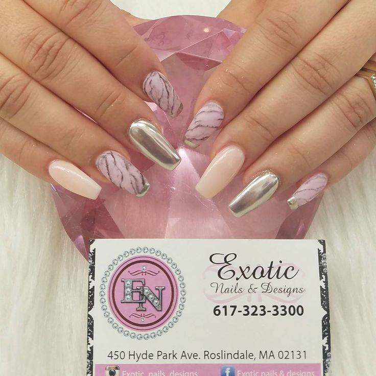 """31 Likes, 1 Comments - Exotic Nails & Designs (@exotic_nails_designs) on Instagram: """"Chrome and marble. #nail #mani #manicure #nails #nailfies #nailart #nailstagram #nailswag #boston…"""""""
