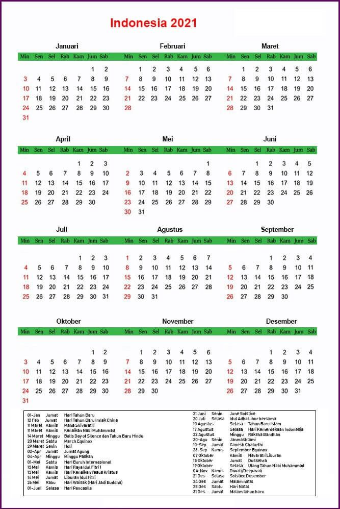 Indonesia 2021 Libur Kalender Printable Calendar Calendar Monthly Calendar