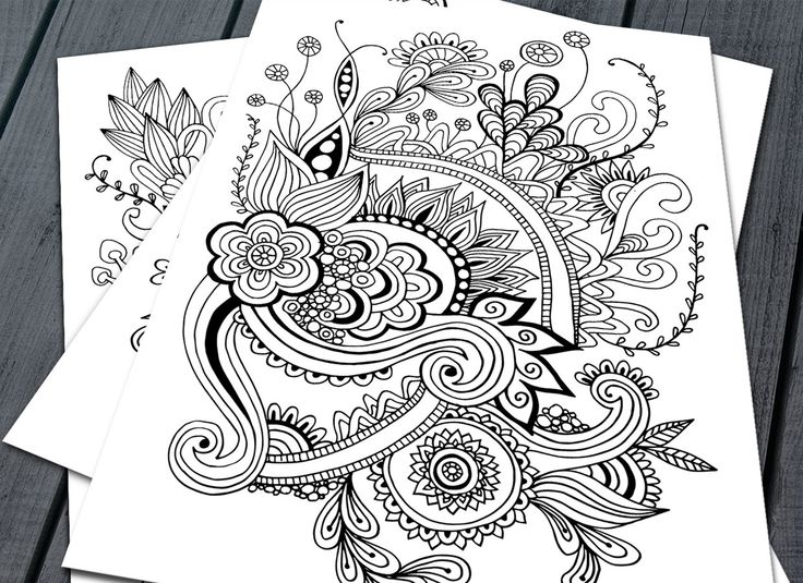 Doodle Adult Colouring Pages, Printable Colouring Pages Zen Doodle Art Floral Mandala - pinned by pin4etsy.com