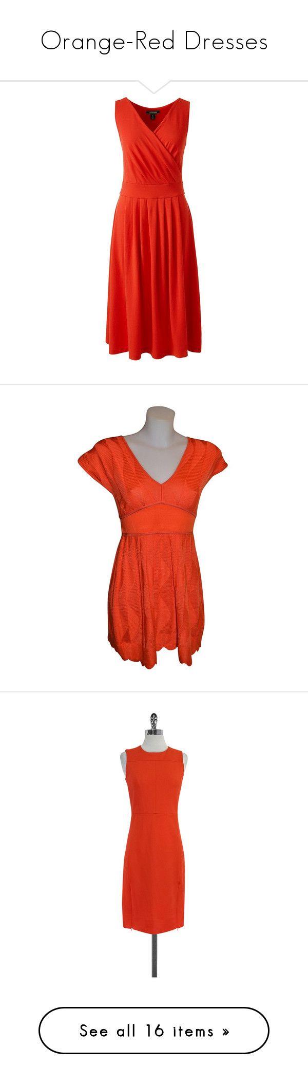 """Orange-Red Dresses"" by tegan-b-riley on Polyvore featuring dresses, orange, red dress, petite dresses, orange fit and flare dress, red fit and flare dress, orange dress, wool dress, red orange dress and preowned dresses"